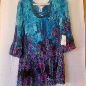 Stunning Multi colored Pleated Tunic NWT
